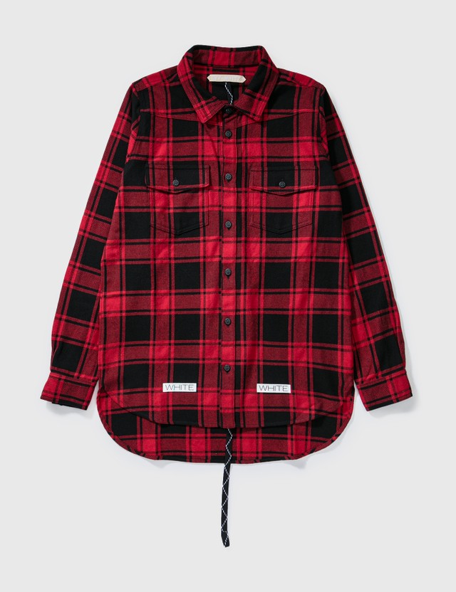 Off-White Off-white Oversize Wool Check Shirt Red Archives