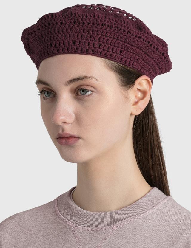 Ganni Cotton Knit Beret Port Royale Women