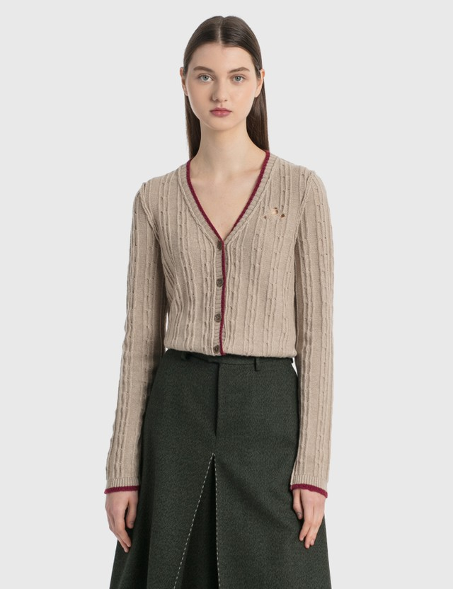 Maison Margiela Inside Out Knit Cardigan Beige + Burgundy Women