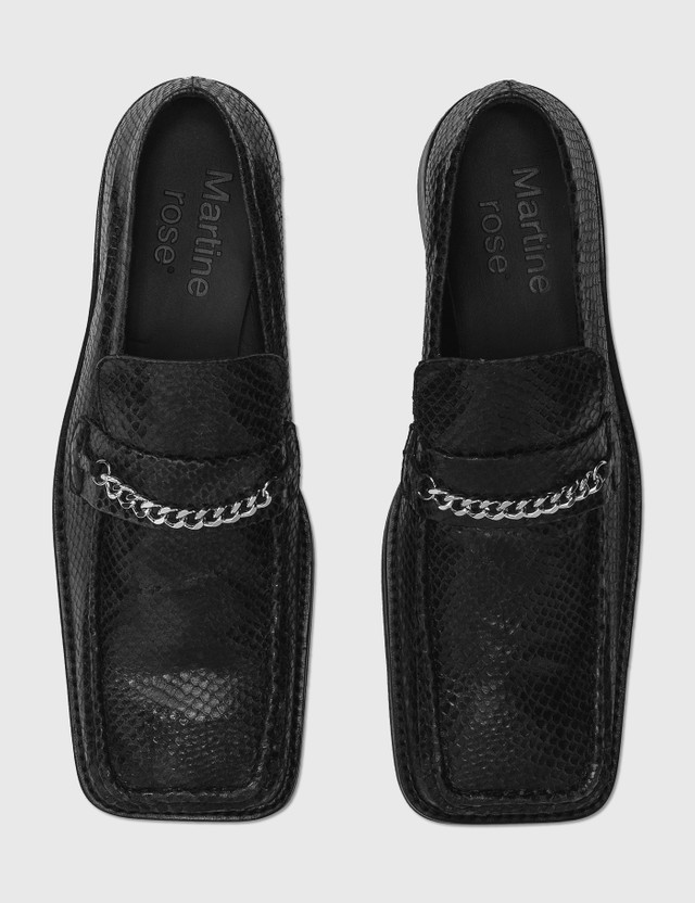 Martine Rose Snake-embossed Leather Loafer Black Black Women
