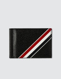 Thom Browne Money Clip Wallet W/ RWB GG Diagonal Intarsia Stripe In Pebble Grain Picture