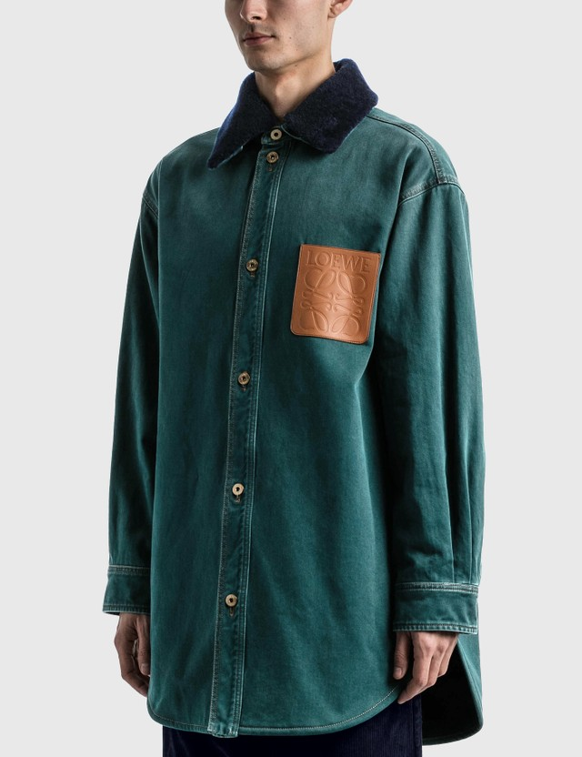 Loewe Shearling Trim Overshirt Petroleum Men