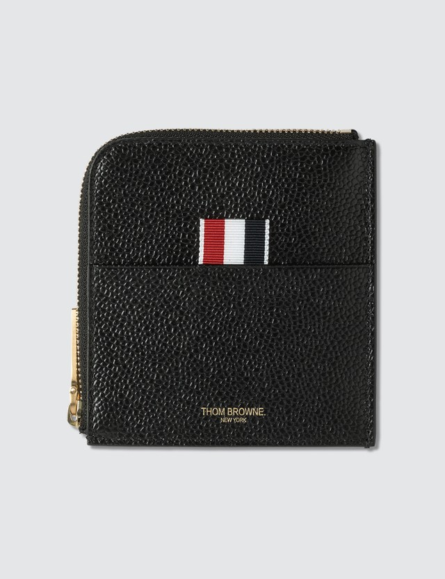 Thom Browne Square Half Zip Around Wallet In Pebble Grain