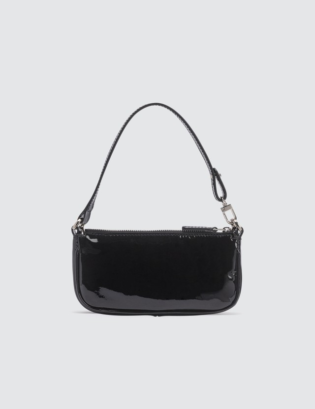 BY FAR Mini Rachel Black Patent Leather Bag
