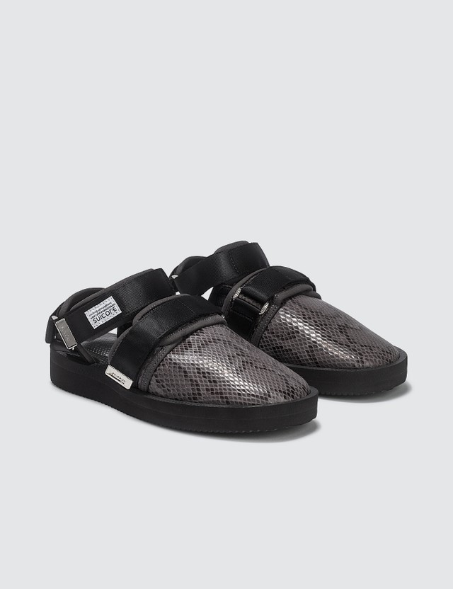 Suicoke Snake-Effect Velcro Sandals Black Women
