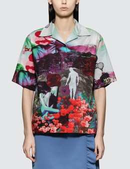 Prada Short Sleeve Shirt With Panorama Motif