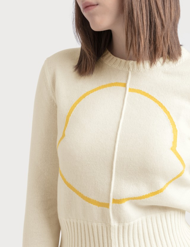 Moncler Wool Cashmere Logo Jumper White/yellow Women