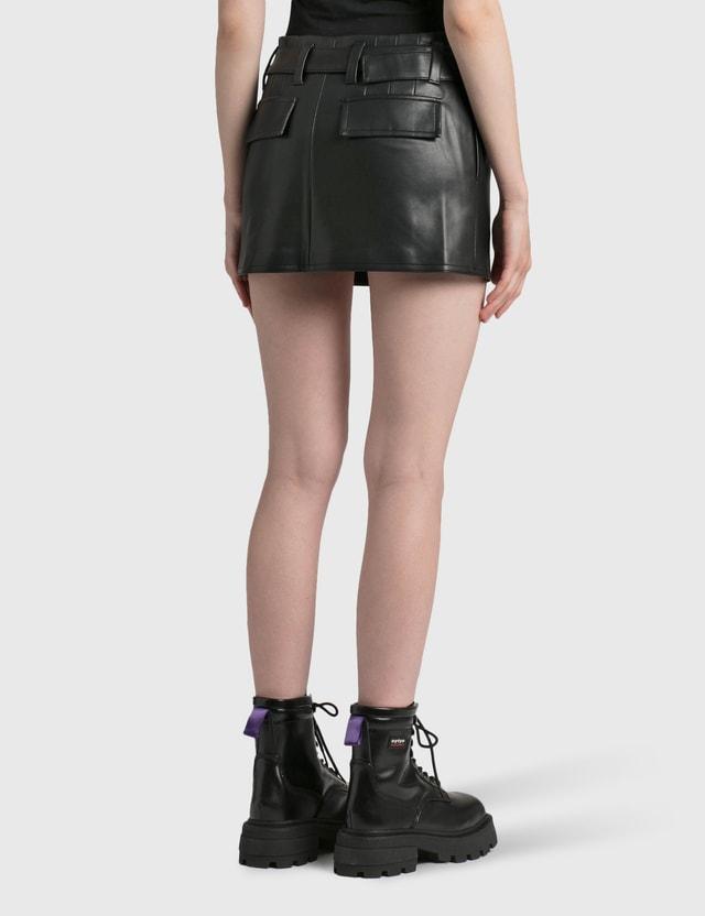 Misbhv Vegan Leather Mini Skirt Black Women
