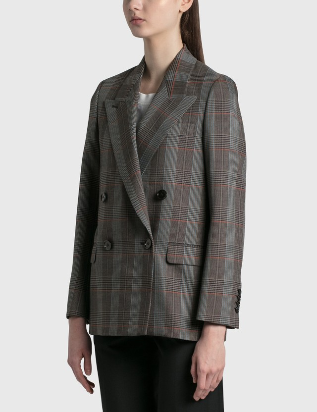Acne Studios Checked Suit Jacket Blue/orange Women