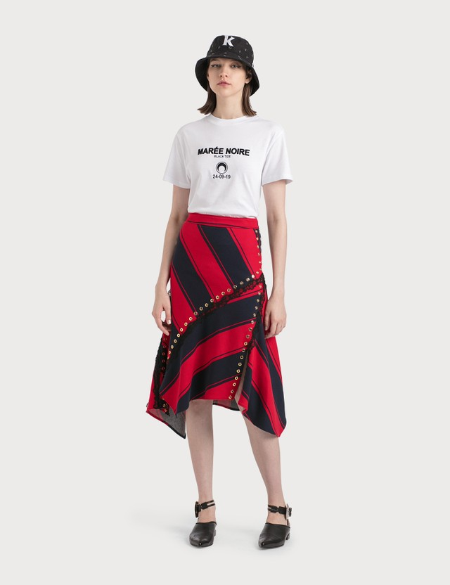 KOCHÉ Stripy Asymmetrical Midi Skirt Co076 Navy Red Stripe Jersey Women