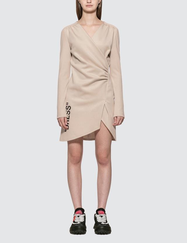 Off-White Quote Mini Dress Beige Black Women