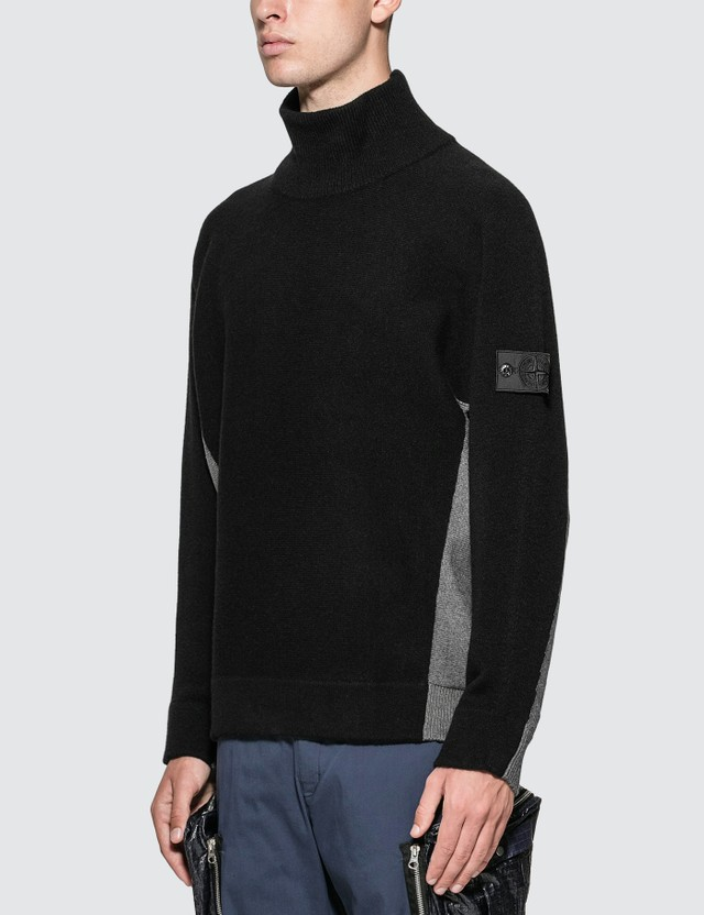 Stone Island Shadow Project Contrast Mock Neck Sweater