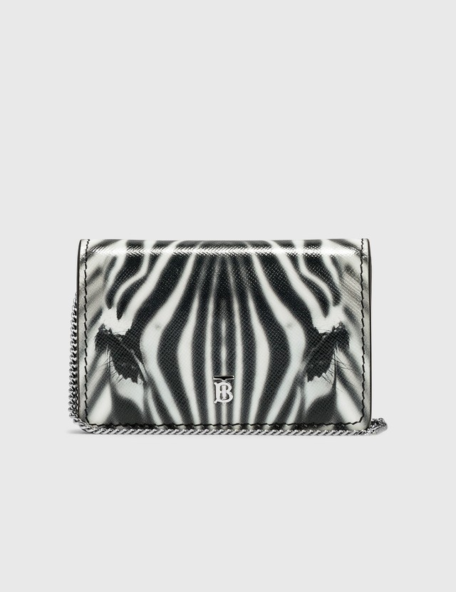 Burberry Zebra Print Leather Card Case with Detachable Strap