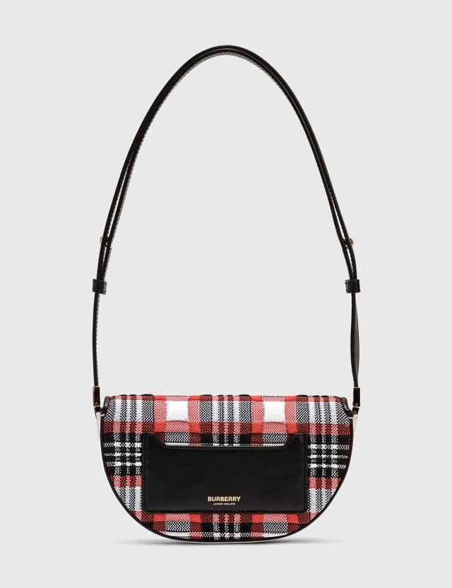 Burberry Mini Knitted Tartan and Leather Olympia Bag Bright Red Check Women