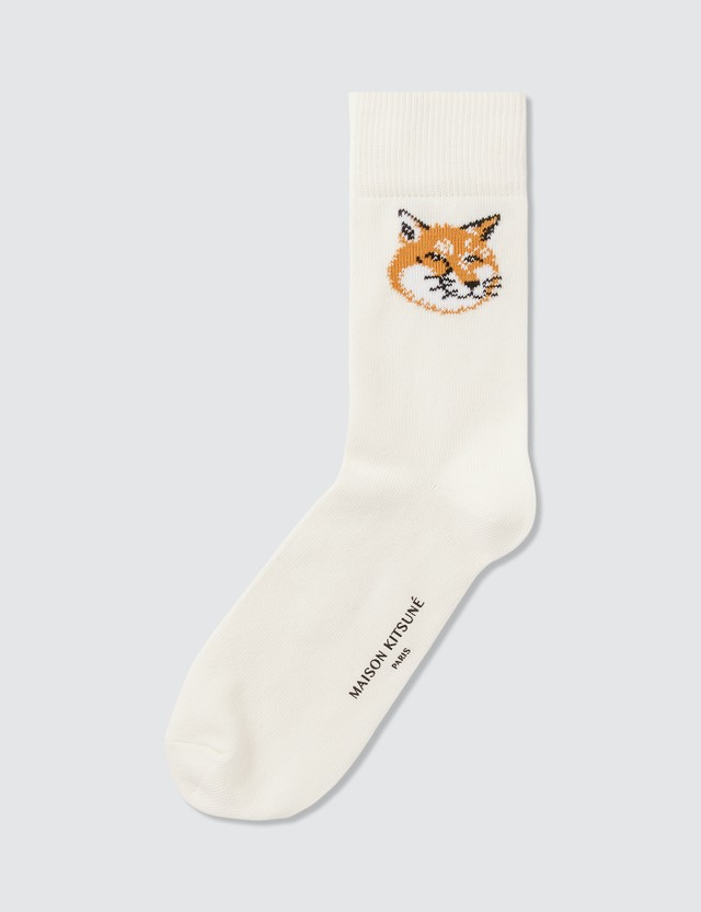Maison Kitsune Fox Head Socks White Men