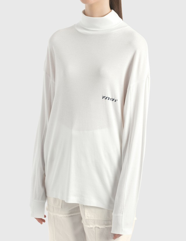 Ambush New Print Turtle Neck Long Sleeve T-Shirt White Women
