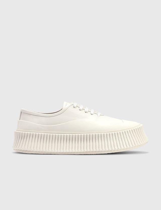 Jil Sander Padded Low-top Leather Sneaker Optic White Women