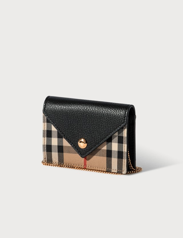 Burberry Vintage Check and Leather Card Case with Strap