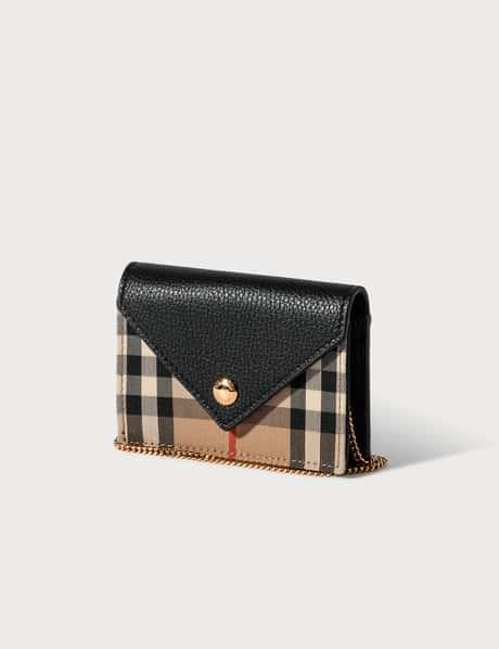 버버리 빈티지 체크 가죽 카드지갑, 체인 스트랩 Burberry Vintage Check and Leather Card Case with Strap