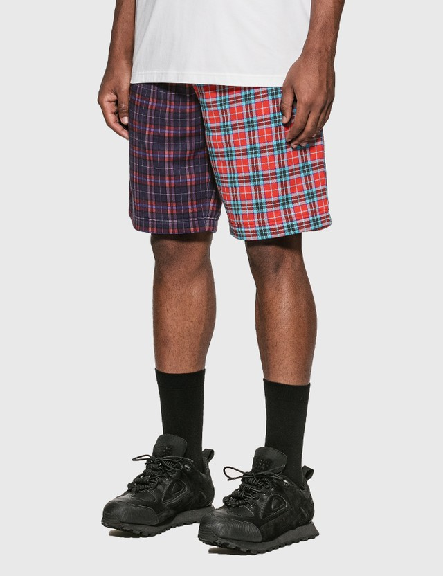 Burberry Patchwork Check Cotton Blend Drawcord Shorts Navy Pattern Men
