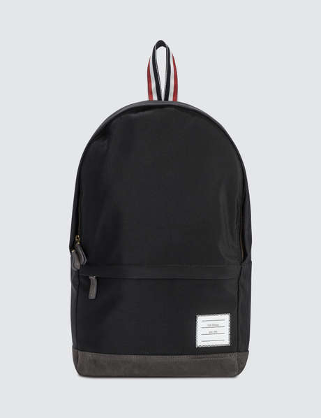 Thom Browne 톰 브라운 Unstructured Backpack In Nylon Plain Weave + Suede