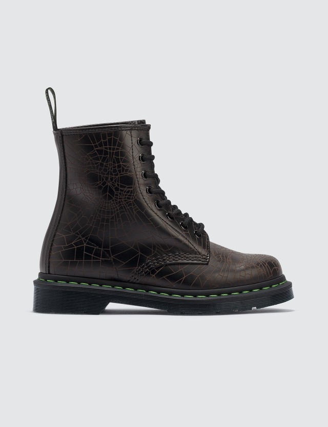 Dr. Martens Core Applique 1460 Black Skull Web Smooth Boots