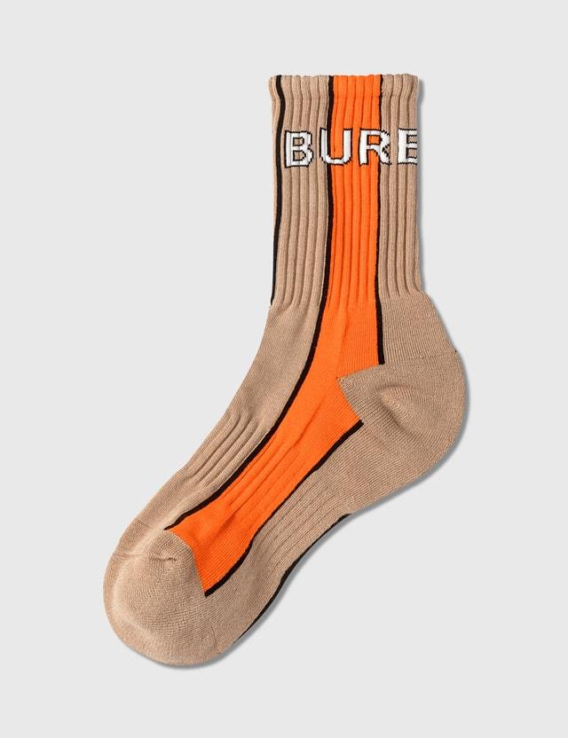 Burberry Logo Intarsia Striped Cotton Blend Socks Soft Fawn Women