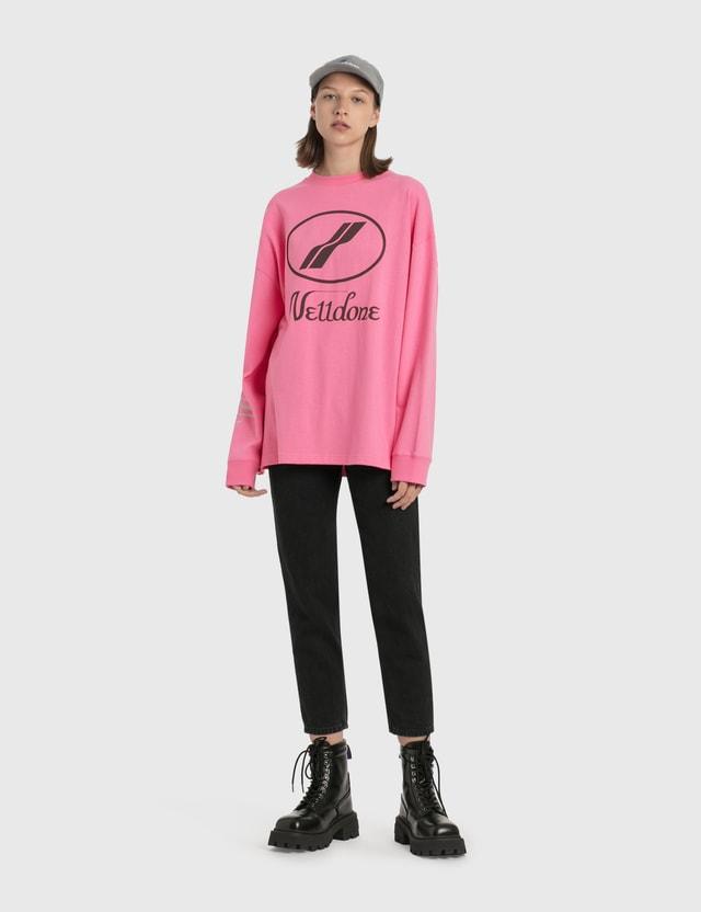 We11done We11done Print Logo Long Sleeve T-Shirt Pink Women