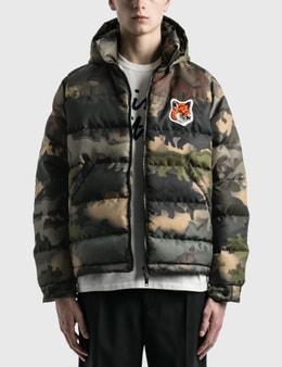 Maison Kitsune Velvet Fox Head Patch Short Down Jacket