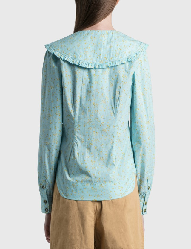 Ganni Printed Cotton Poplin Shirt Corydalis Blue Women