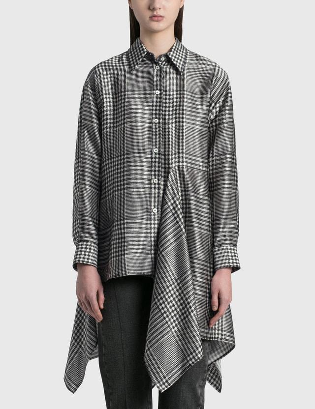 MM6 Maison Margiela Houndstooth Printed Shirt Ecru/black Check Women