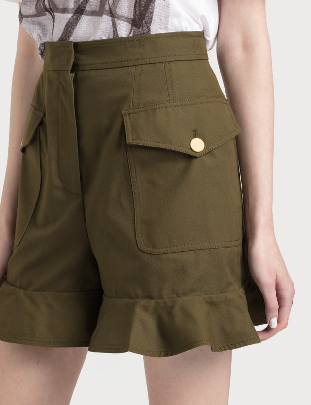 Alexander McQueen Frilled Shorts Khaki Green Women