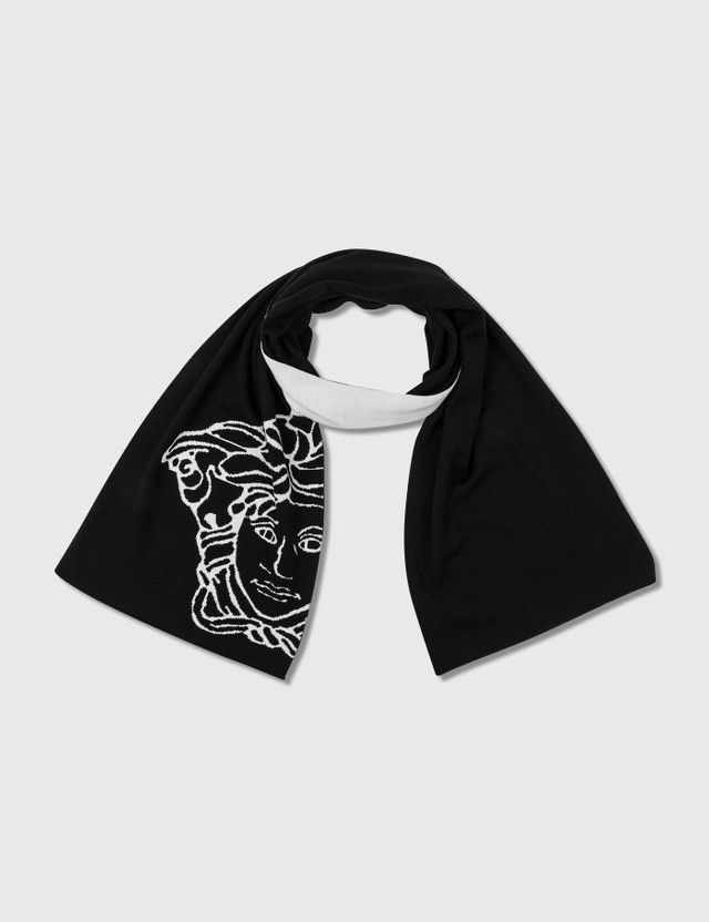 Versace Pop Medsua Wool Scarf Nero - Bianco Women