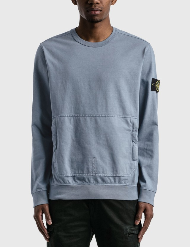 Stone Island Sweatshirt With Pocket Mid Blue Men