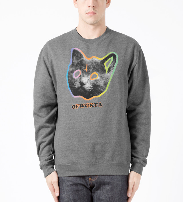 3cc8783db4b090 Odd Future - Gunmetal Grey OFWGKTA Tron Cat Crewneck Sweater
