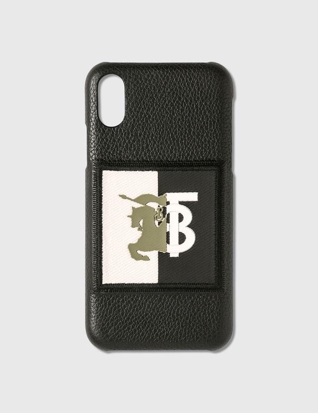Burberry Contrast Logo Graphic Leather iPhone X/XS Case Black Unisex