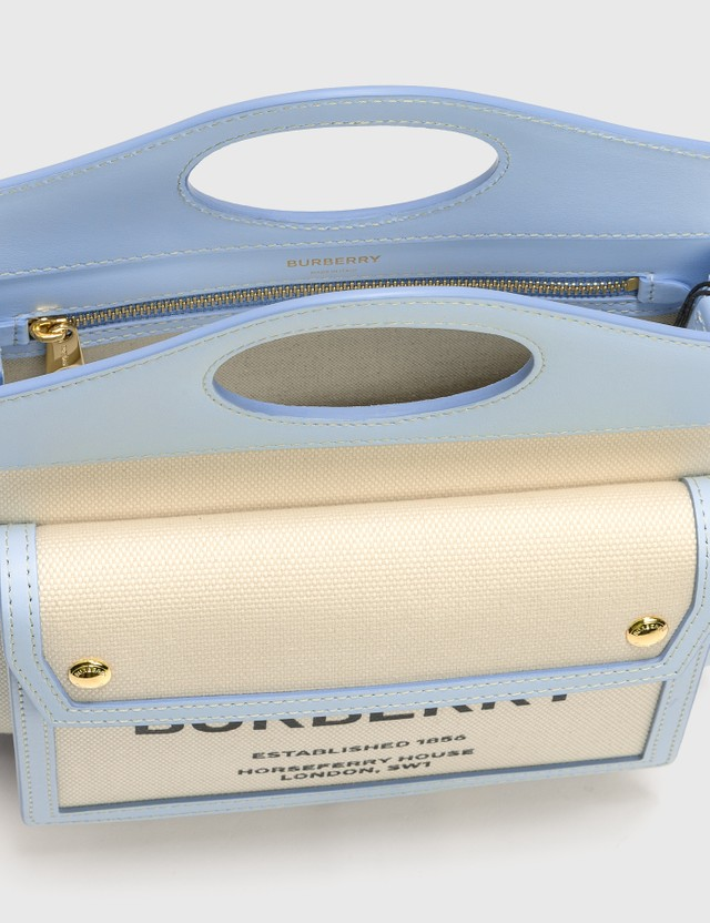 Burberry Mini Two-tone Canvas and Leather Pocket Bag Natural/pale Blue Women