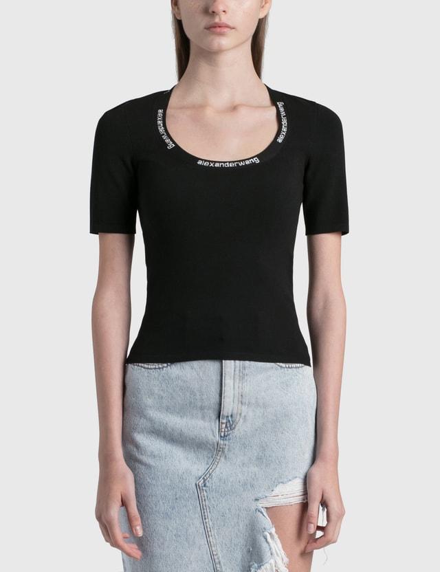 Alexander Wang.T Logo Trim Bodycon T-Shirt Black Women