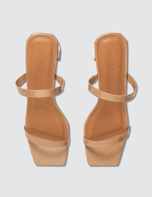BY FAR Tanya Nude Patent Leather Sandals