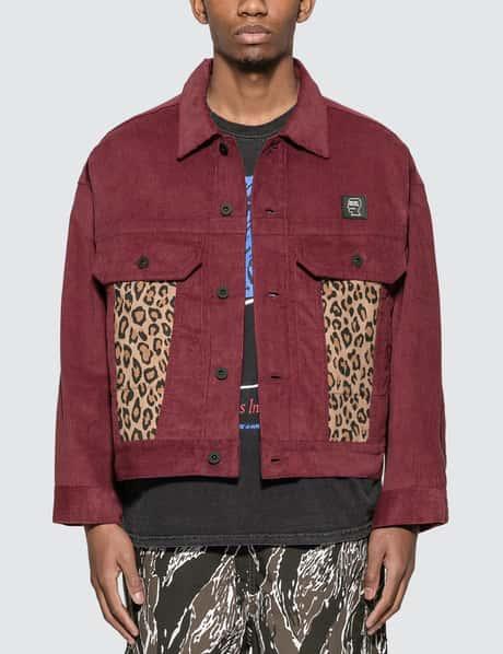 브레인 데드 코듀로이 레오파드 자켓, 마룬 Brain Dead Corduroy Leopard Contrast Trucker Jacket
