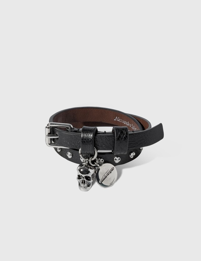 Alexander McQueen Double Wrap Stud Logo Bracelet Black Men
