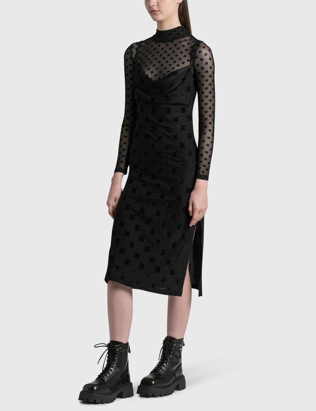 Misbhv Velour Monogram Slip Dress Black Women
