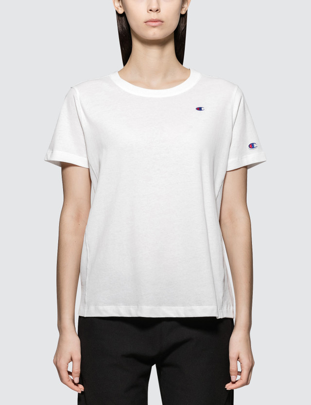 Champion Reverse Weave Small Logo Short Sleeve T-shirt White Women