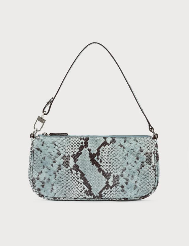 BY FAR Rachel Blue Snake Print Leather Bag