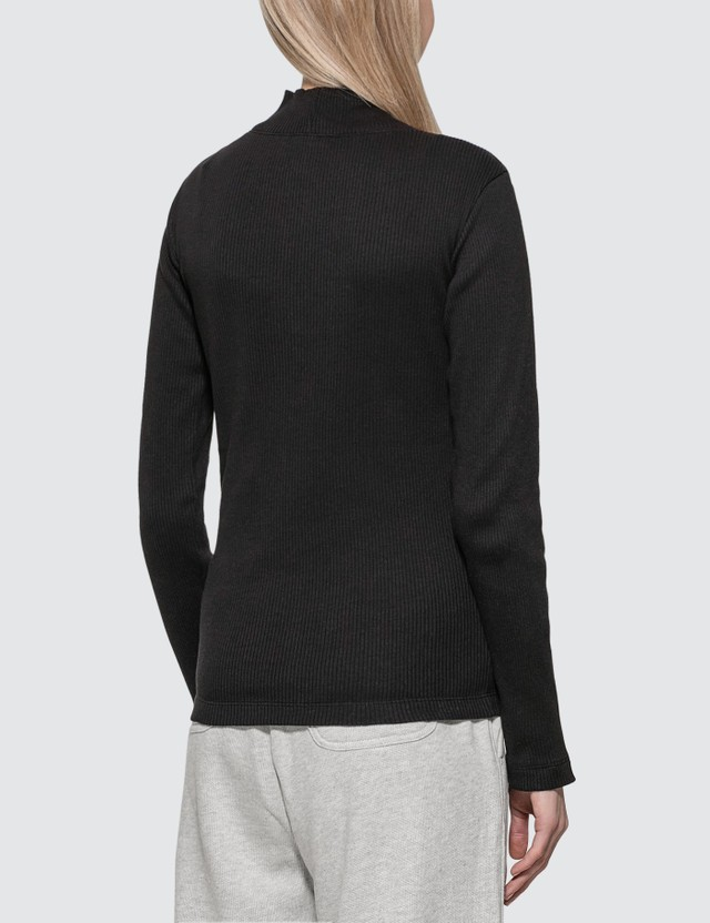 Champion Reverse Weave Ribbed Turtle Neck Long Sleeve Top Black Women