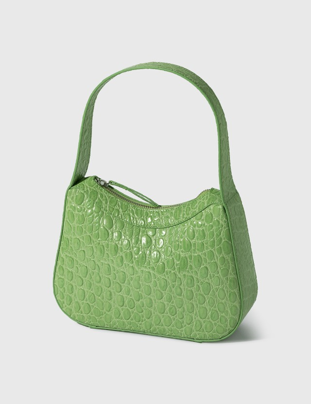 BY FAR Kiki Pistachio Circular Croco Embossed Leather Shoulder Bag Pistachio Women