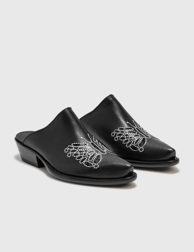 Needles Heeled Papillon Embroidered Mule Black Smooth Women