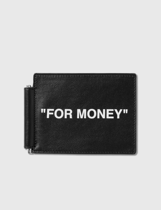 Off-White Calfskin Quote Bill Clip Wallet