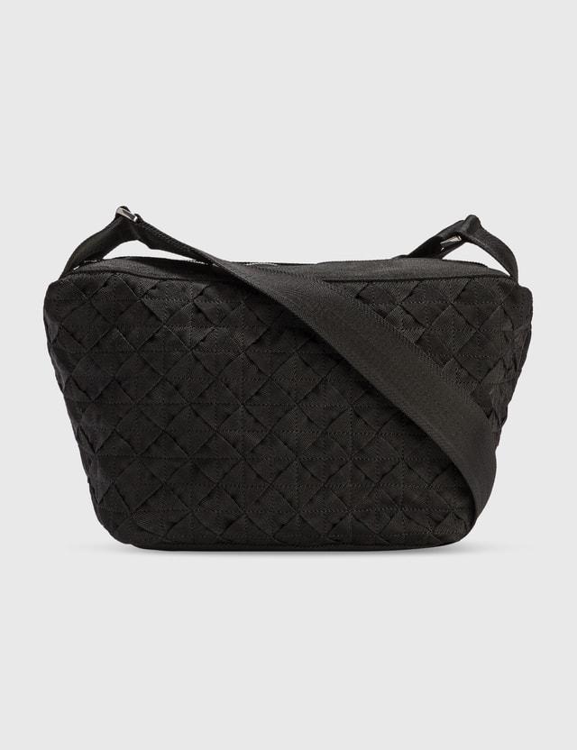 Bottega Veneta Jacquard Nylon Crossbody Bag Black-silver. Men
