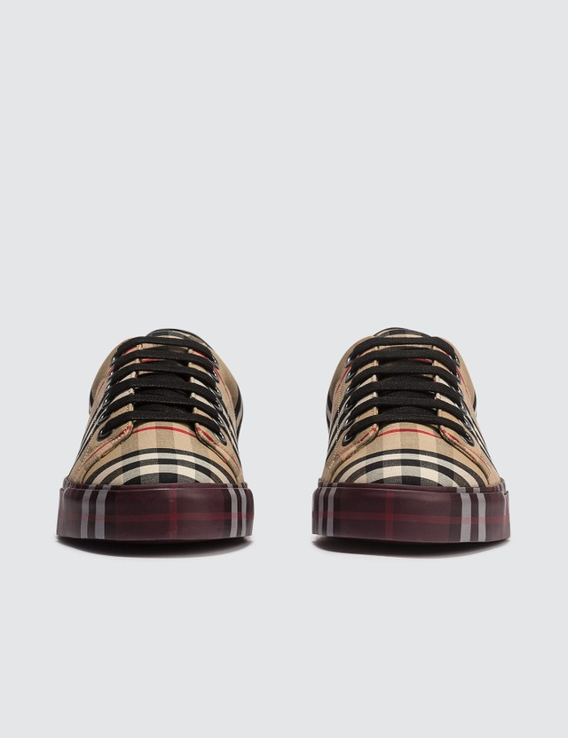 Burberry Contrast Check And Leather Sneakers